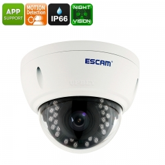 Full-HD Security Camera - 4MP CMOS, 2592x1520p Full HD, IP66 Waterproof, Motion Detection, Night Vision, Alarm, Remote Viewing