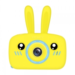 2 Inch HD Screen Digital Mini Camera Kids Cartoon Cute Camera Toys Outdoor Photography Props for Child  Yellow rabbit