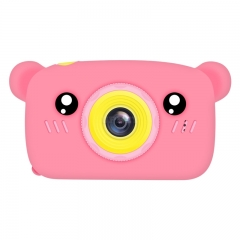 2 Inch HD Screen Digital Mini Camera Kids Cartoon Cute Camera Toys Outdoor Photography Props for Child  Pink bear