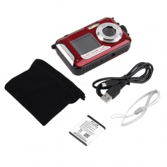 2.7inch TFT Digital Camera Waterproof 24MP MAX 1080P Double Screen 16x Digital Zoom Camcorder HD268 Underwater Camera  red