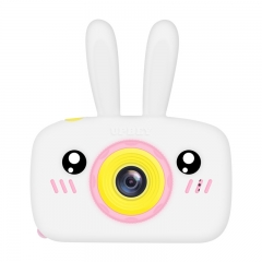 2 Inch HD Screen Digital Mini Camera Kids Cartoon Cute Camera Toys Outdoor Photography Props for Child  White rabbit