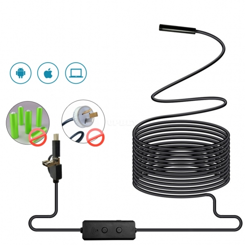 3 in 1 WIFI Endoscope Camera Mini Waterproof Hard Cable Inspection Camera USB Endoscope Borescope  2M