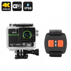 "Ultra HD 4K Action Camera """"Clarion"""" - 20MP, 170 Degree Lens, DVR Loop Recording, Wrist Remote Control, Wi-Fi, iOS + Android App"