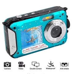 2.7inch TFT Digital Camera Waterproof 24MP MAX 1080P Double Screen 16x Digital Zoom Camcorder HD268 Underwater Camera  blue