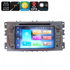 Ford 2 Din Car DVD Player - 7 Inch Screen, 3G, 4G, Android 9.0.1, Octa-Core, 4+32GB, Can Bus, Bluetooth, GPS, Wi-Fi