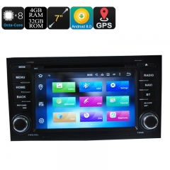 Car DVD Player 2 Din 7 Inch For Audi - Android 9.0.1, Octa Core, 4+32GB, Can Bus, GPS, 3G and 4G Support, Wifi, Bluetooth