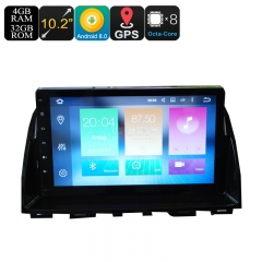 2 Din Car Media Player For Mazda 6 - 10.2 Inch Screen, 4+32GB, Octa-Core, 3G, 4G, Android 9.0.1, Bluetooth, GPS, Wi-FI