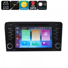 2 DIN Car DVD Play For Audi A3 - 7 Inch Display, Android 9.0.1, GPS, WiFi, 3G&4G Support, CAN BUS, Octa-Core CPU, 4GB RAM