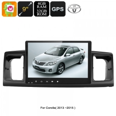 2 DIN Car Stereo - For Toyota Corolla, 9 Inch Display, Android 9.0.1, GPS, WiFi, 3G&4G Support, CAN BUS, Octa-Core CPU, 4GB RAM