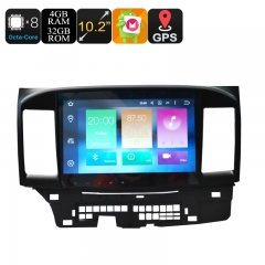 2 Din Car Stereo For Mitsubishi - 10.2 Inch Screen,  4+32GB, Android 9.0.1, Octa-Core, 3G, 4G, GPS, Bluetooth, Wi-Fi