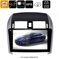 2 DIN Car Stereo Toyota Corolla - Octa Core CPU, 4GB RAM, 10.2 Inch Touch Screen, CAN BUS, GPS, Bluetooth, Android 9.0.1
