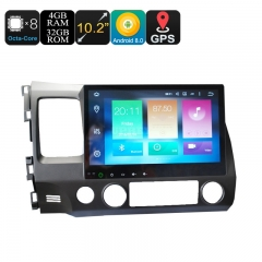 Honda 2 Din Car Media Player - 10.2 Inch Screen, 4+32GB, Android 9.0.1, GPS, WiFi, 3G&4G Support, Octa-Core CPU, Bluetooth