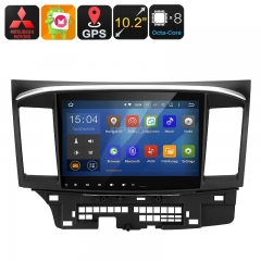 2 DIN Car Stereo Mitsubishi Lancer - Android 9.0.1, Octa-Core CPU, 4+32GB, GPS, 10.2-Inch Display, Wi-Fi, Google Play, Bluetooth