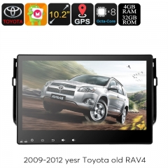 2 DIN Car Stereo Toyota RAV4 - 10.2 Inch Touchscreen, Octa Core CPU, Android OS, GPS Navigation, Bluetooth, 3G&4g Dongle Support