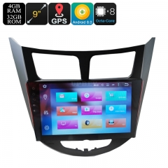 9 Inch 2 DIN Car Stereo - Android 9.0.1, Octa-Core, 4GB RAM, GPS, Bluetooth, Google Play, Fits Hyundai Verna Cars