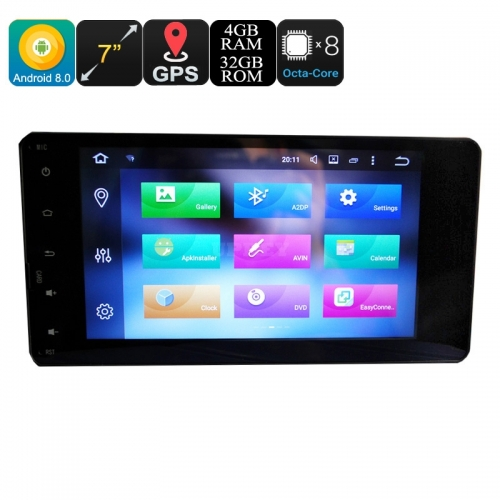 Mitsubishi 2 Din Car Media Player - 7 Inch Display, 4+32GB, Android 9.0.1, Octa-Core, 3G, 4G, GPS, Bluetooth, Wi-Fi