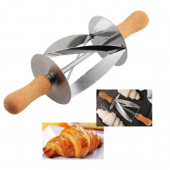 Stainless Steel Rolling Cutter for Making Croissant Bread Dough Pastry Baking Kitchen As shown