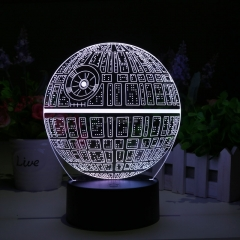 Star Wars Death Star 3D LED Lamp - Holographic Lamp, 2 Light Modes, 7 Colors, Powered USB or AA Battery