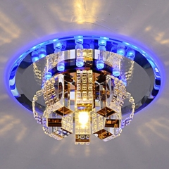 Modern Crystal Chandelier Round Ceiling Lamp (White Light, Warm White Light)