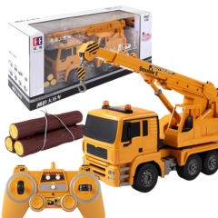 Simulation RC Car Crane Engineering Vehicle Remote Control Car Rechargeable Toy Children Gift yellow