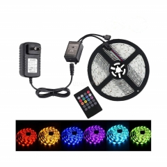 5M SMD3528 Waterproof RGB Music LED Strip with Remote Controller Power Adapter 100-240V Plug EU AU US UK