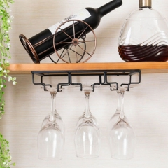 Iron Wall Mount Wine Glass Hanging Holder Goblet Stemware Storage Organizer Rack Three-row