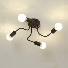 LED Retro Wrought Iron Ceiling Light 4 Heads Lamp for Home Restaurant Dinning Cafe Bar Room Decor black_Without light source