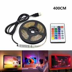 USB 5V LED Waterproof String Light Lamp Flexible RGB Changing Light Tape with Remote Control Ribbon-400CM