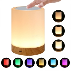 USB Charging LED Dimmable Colorful Night Lamp Wood Grain Bed Light Home Office Decoration Gift Colorful + Warm Light 4W