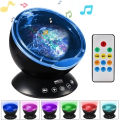 Ocean Wave Music Projector LED Night Light Black