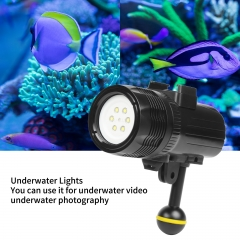 SHOOT 1000LM Waterproof Underwater Diving Flashlight Outdoor LED Video Light for HERO7/6/5 black