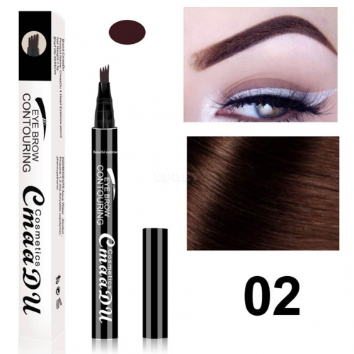 4 Fork Tip Head Eyebrow Pencil Smudge-proof Long-lasting Non Staining Brows Pen