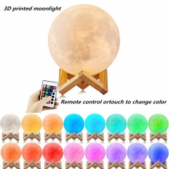 LED 16 Colors 3D Printing Warm Moon Lamp with Remote Control Touch Control Light for Decaration
