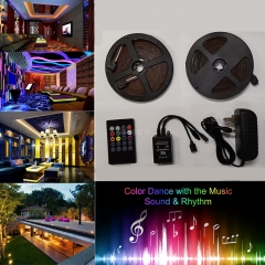 10M SMD3528 Waterproof RGB Music LED Strip with Remote Controller Power Adapter 100-240V Plug EU AU US UK