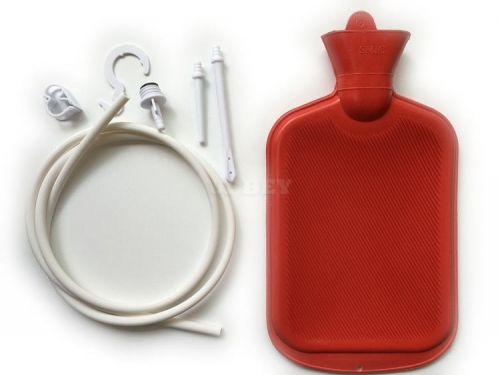 Women Men Enema System Kit with Rubber Hot Water Bottle Douche Bag Tubing
