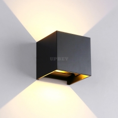 6W 3000K Warm White Indoor and Outdoor Aluminum Waterproof LED Adjustable Light Square Wall Lamp black