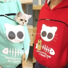 Sweatshirts Breathable Pet Carrier Thicken Kitten Puppy Holder Pouch Pullovers Tops Hood Animal Sweatshirt For Children Ladies