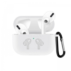 Silicone Case for AirPods Pro Travel Earphone Storage Bag Pattern Printed Headset Cover with Hook for Easy Carrying white