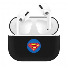 Silicone Case for AirPods Pro Lovely Cartoon Pattern Design Full Protection Headset Storage Bag Anti-scratch Eearphone Shell Black superman