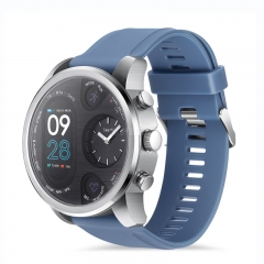 Sport Smart Watch Stainless Steel Fitness Activity Tracker IP68 Waterproof Smartwatch Silver&Blue