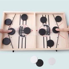 Fast Sling Shot Puck Board Game Wooden Desktop Battle Foosball Bounce Portable Table Sauce Toss Hockey Game for Kids Adults